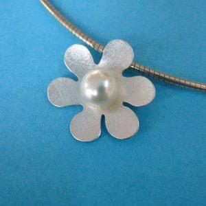 Blume 925 Sterling Silber Anhänger mit Perle