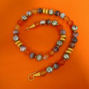 Herbst Achate Collier, graue Perlen und Karneol