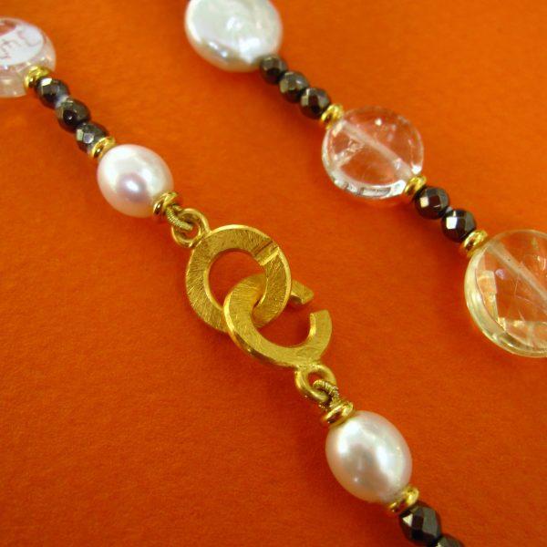 Perlen Citrin Collier Verschluß Detail