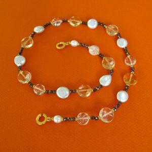 Perlen und Citrin Collier Gwenifer
