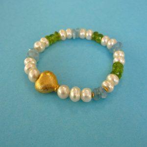 Aquamarin Peridot Perlen Frühlings Armband