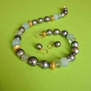 Tahiti Perlen Collier mit Aquamarin und Prasolith 750 Gold