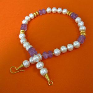 Amethyst Collier mit Perlen Verschluss: Öse-Haken