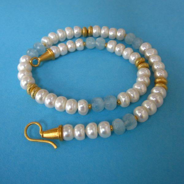 Aquamarin und Perlen Collier Sylt