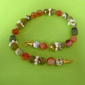 Herbst Kette mit bunten Achat, Perlen und Karneol
