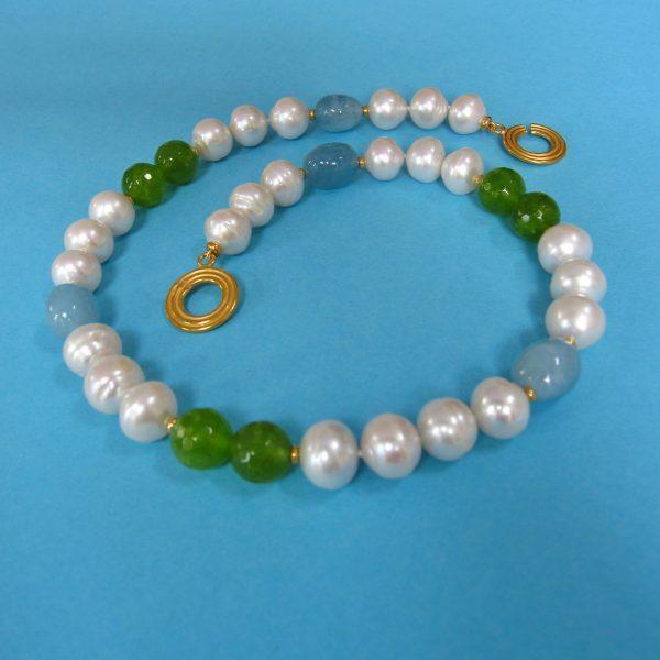 Perlencollier Aquamarin mit grünen Achat