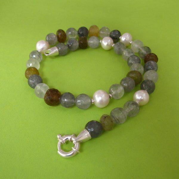 Turmalin Quarz Kette mit Perlen