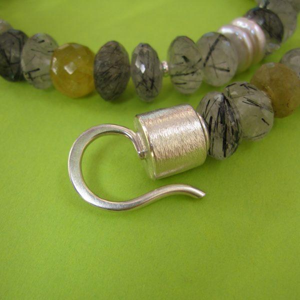 Turmalinquarz Collier Silber Verschluss