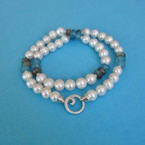 Sylt Perlenkette, Aquamarin und Labradorit