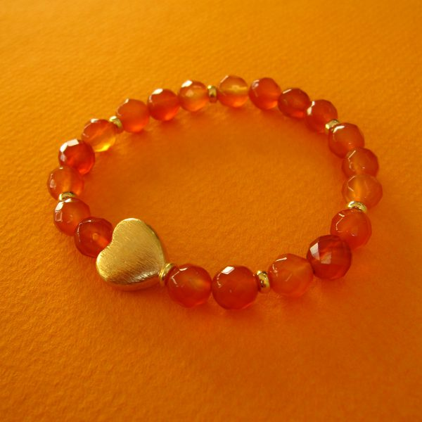 Karneol Stretch-Armband mit vergoldetem Herz