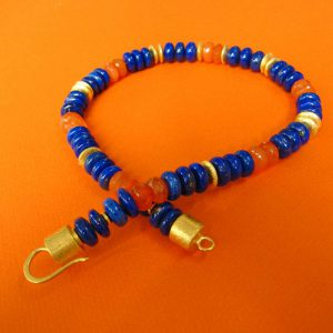 Lapis Royal und Karneol Collier 45 cm
