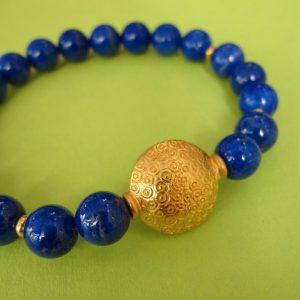 Lapis Armband mit vergoldeter Linse