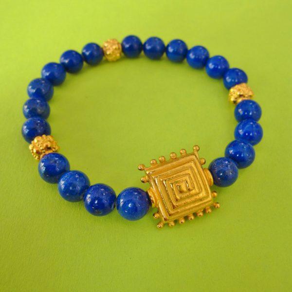 Lapislazuli Armband mit vergoldeten Ornamenten