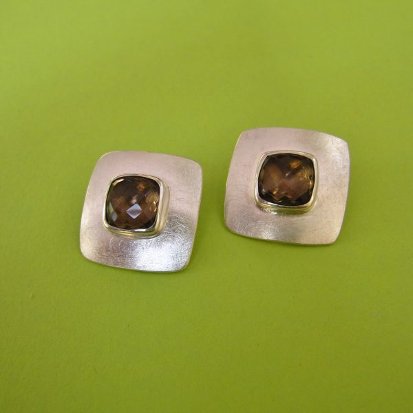 925 Sterling Silber Clips mit Rauchquarz Carre
