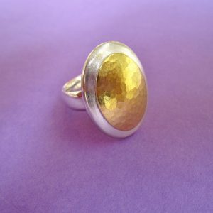 Silber Ring mit Goldoval