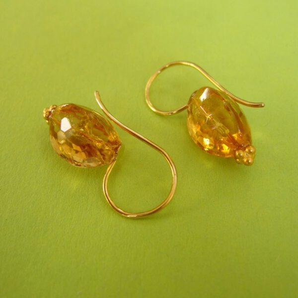 750 Gold Citrin Ohr Hänger mit 750 Gold Bügel