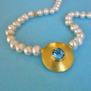 Blau Topas Collier mit Süßwasser Perlen und Karabiner Verschluß