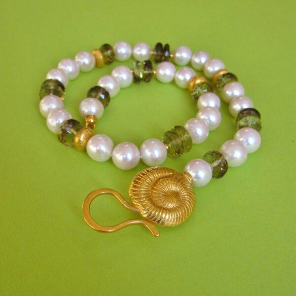 Rauchquarz Perlen Collier mit schnecke und Öse-Haken Verschluß